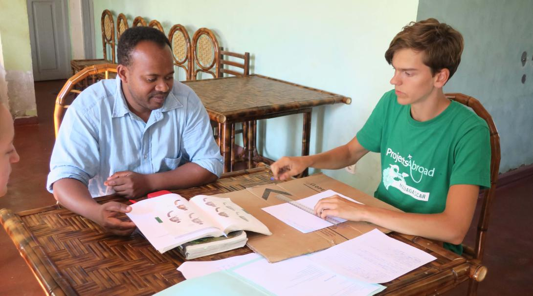 A Projects Abroad volunteer receives French classes during his project in Madagascar.
